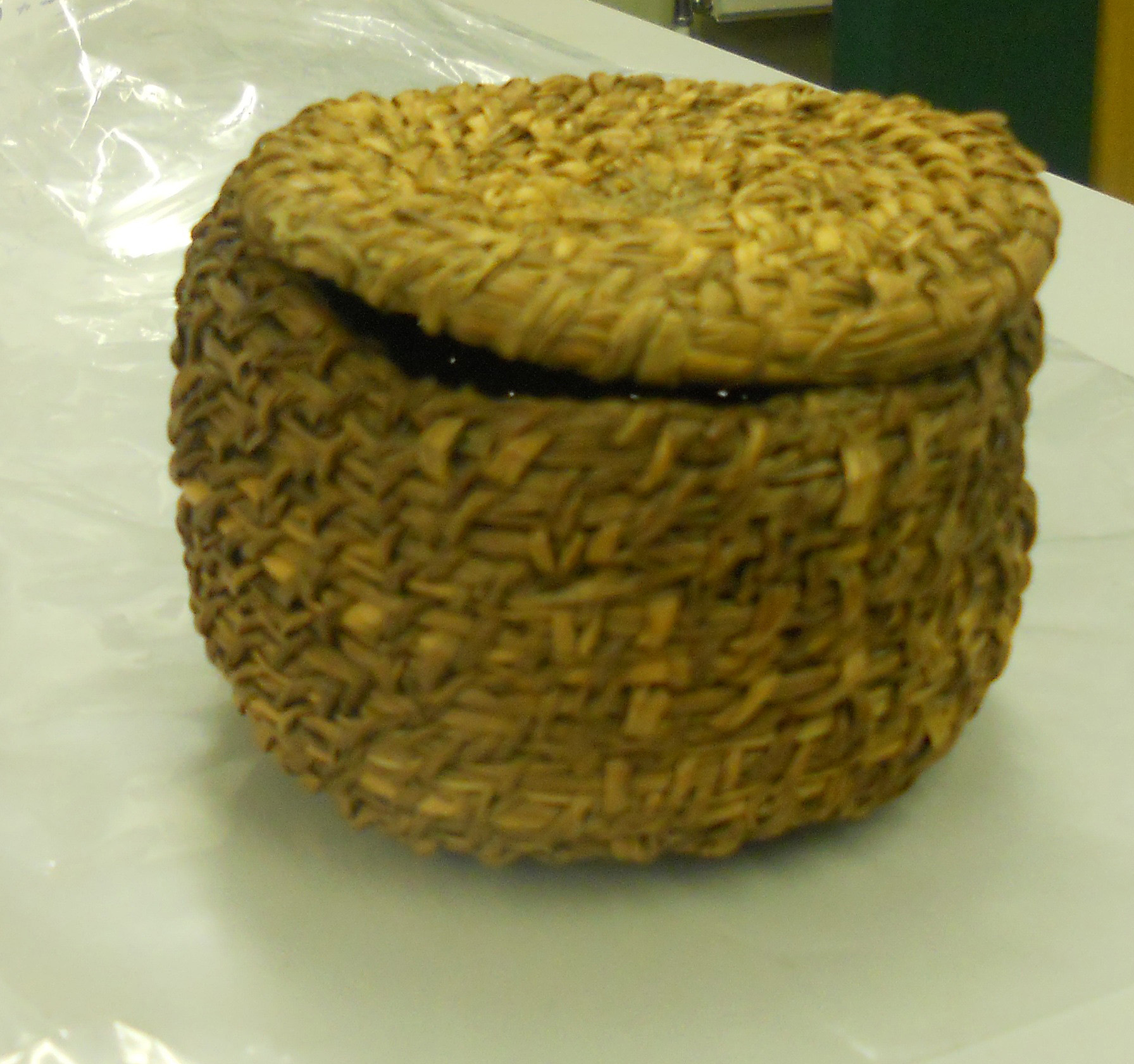Coiled soft (field) rush basket, Dumfries Museum JG 55.1965.106