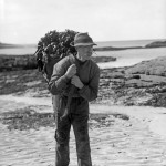 Archie MacEachern, Kinsadel, Arisaig c 1910, carrying seaware. Scottish Life Archive