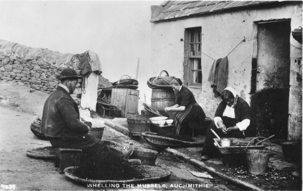 Line sculls, Auchmithie, Angus. Cleaning, baiting and preparation of lines. Scottish Life Archive