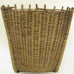 Finely woven east coast creel made from buff willow. Highland Folk Museum