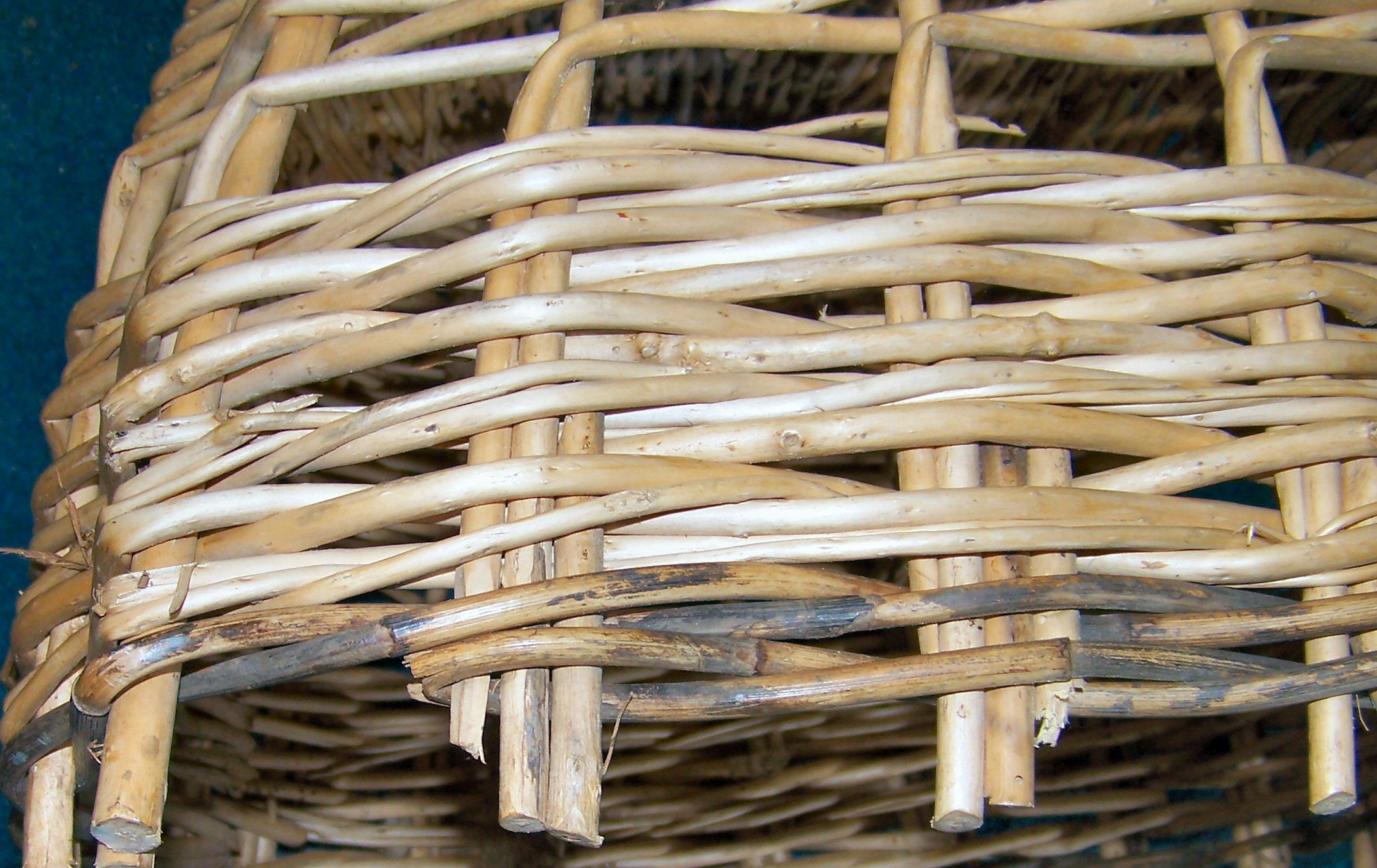Beginning the weave, creel, cane and willow, Ness, Lewis