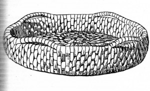 Drawing of basket found in Archeological Dig in Perth