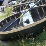 Modern version of coracle with wood lath and gunwhale