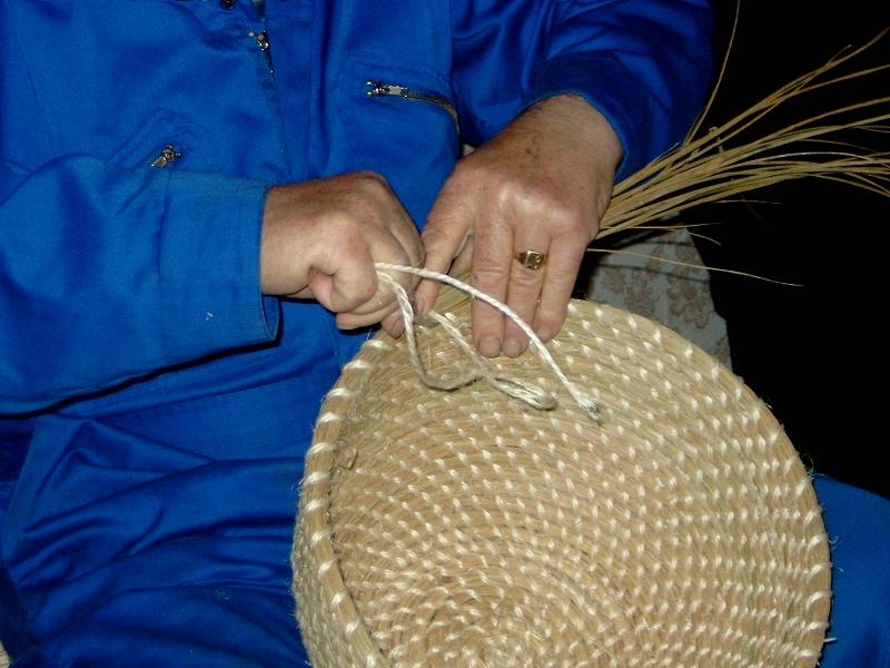 Coiling in progress. Jimmy Work, Shetland 2007